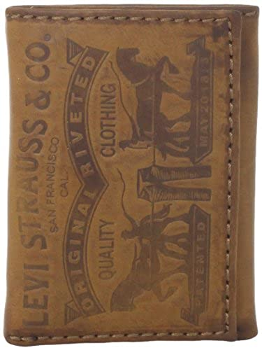05. Levi's Men's Leather 2 Horse Logo Trifold Wallet