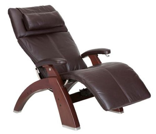 Human Touch Pc-410 Perfect Chair Series 2 Chestnut Manual Recline Wood Base Zero-Gravity Recliner - Espresso Top-Grain Leather - Standard Ground Shipping Included