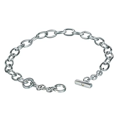 Diamond Charm Bracelet, Sterling Silver, 0.01 Carat Diamond Weight, Model DL062, by Hot Diamonds