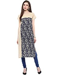 AngelFab Blue Color Crepe Fabric Women's Straight Kurti