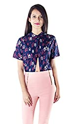 Lady Being Women's Crop Top(CT-SS16-05S_Blue_Small)