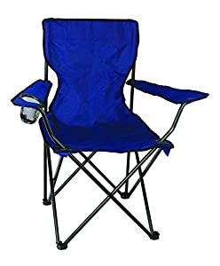 Texsport Bazaar Folding Armchair with Drink Holder, Blue