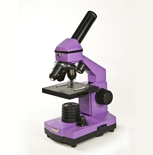 Levenhuk 2L Ng Amethyst Microscope Monocular Three Objectives 64-640X Bright Color