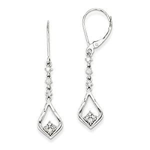 Christmas Sale -14k White Gold Diamond Leverback Earrings - Excellent Gift