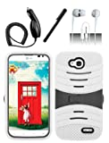 4 Items Combo For LG Optimus L90 (T-Mobile) White Hybrid Heavy Duty Armor Rugged Shell Protective UCASE Phone Case Cover with Built in Kickstand and Screen Protector + Car Charger + Free Stylus Pen + Free 3.5mm Stereo Earphone Headsets