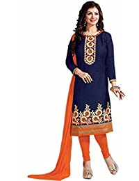 Aryan Fashion Designer Navy Blue & Orange Cotton Embroidered Semi-Stitched Straight Suit For Women & Girls Party...