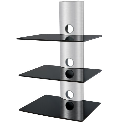 Wall Mount Aluminum / Glass Component Shelf -