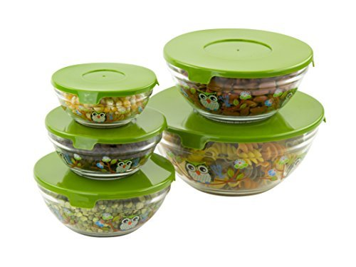 5 Pc Nesting Glass Bowls - Multi Purpose Travel Food Containers - Lunch Bowl w/ Lids & Owl Design Green Glass Serving Bowl