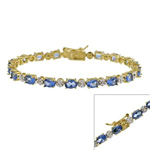 Gold Tone over Sterling Silver Blue CZ & Genuine Diamond Accent Bracelet