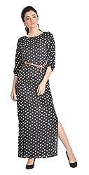 Aaina Women's Regular Fit Dress (Asd017_X-Small, Black, X-Small)