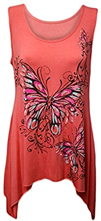 New Ladies Plus Size Butterfly Print Hanky Hem Sleeveless Long Womens Top Coral 14/16