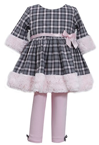 Bonnie Baby-Girls Infant Cotton Plaid And Fur Legging Set, Pink, 18 Months front-1041838