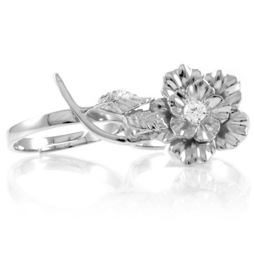 Elle's Two Finger Flower Ring - Silver