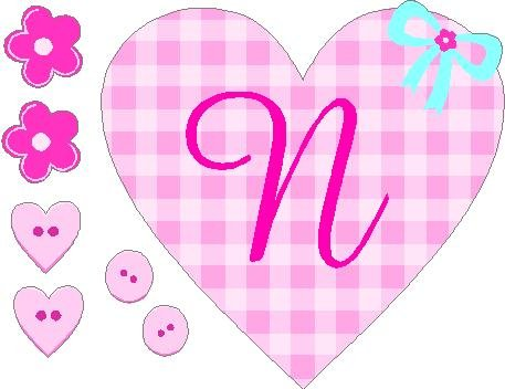 Cute Pink Plaid Monogram Letter Girls Removable / Repositional Peel And Stick Vinyl Sticker Wall Art (Letter N) front-838952