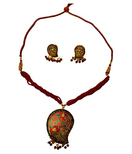 Floral Leafy Design Burgundy Jewelry Set Indian Traditional Jewelry