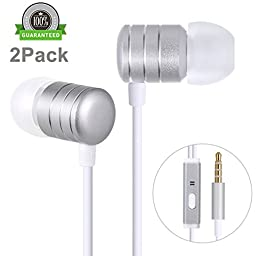 Amoner 2Pack Stereo Earbuds Headphones with Mic & Remote Control, Heavy Bass Noise Cancelling Earphones for iPhone 6S 6, 6s Plus, iPhone SE 5s 5c 5, iPad/iPod, Android Devices and More(Popular Silver)
