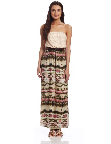 As U Wish Juniors Crochet Tube Top Tye Dye Challis Maxi Dress, Olive Natural, Large