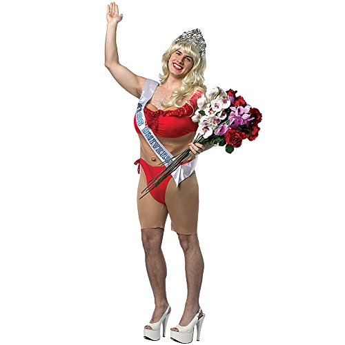 Miss Male Universe Halloween Costume With Crown, Blonde Wig, Bikini And Sash (Halloween Costume Winners)