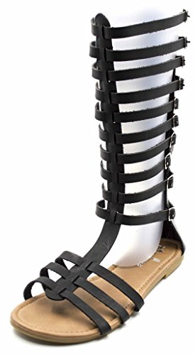 Orly Shoes Women's Wide Width Flatty Strappy Lace Up Tall Buckle Gladiator Sandal in Black Size: 9W