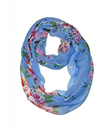 WishCart? Women's Infinity Scarf Light Weight Flower And Trees Printed,Size Bigger Then Others(Blue)