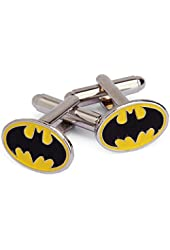 Yellow and Black Batman Logo Cufflinks for Men - Superhero Collection