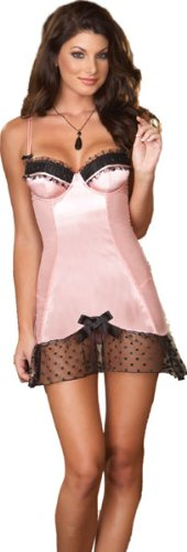 Pink Satin Sleepwear Babydoll and Thong