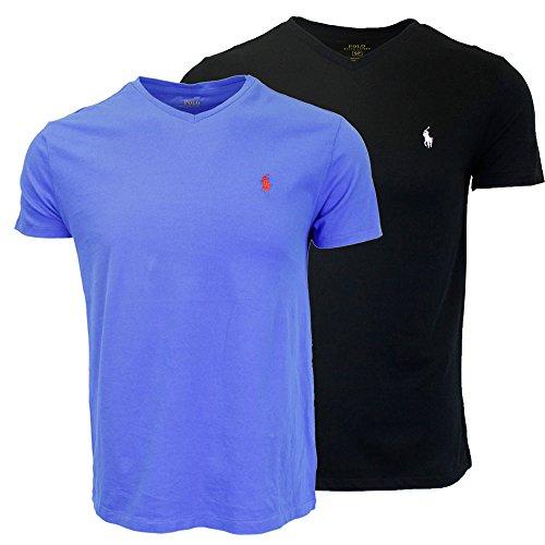 Polo Ralph Lauren Men's V-Neck T-shirt Bundle 2016 model (2pk) (Small, Black/Blue)