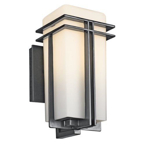 Kichler Lighting 49200BK Tremillo 12-Inch Light Outdoor Wall Lantern, Black with Satin-Etched Cased Opal Glass