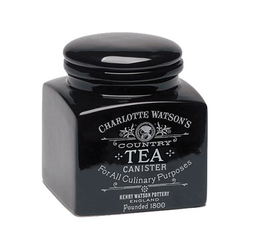 Charlotte Watson Square Small Tea Canister - Black