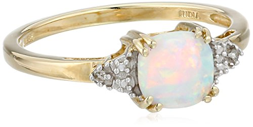 10k Yellow Gold, October BirthStone, Simluated Opal and Diamond Ring, Size 5