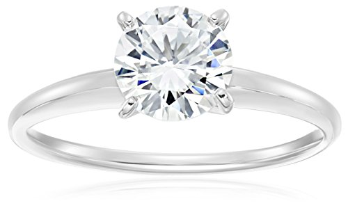 Platinum Plated Sterling Silver Round Cubic Zirconia Solitaire Ring, Size 6