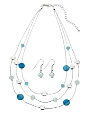 Silver Plated Multi-Strand Shell Necklace & Earrings Set