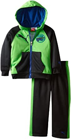 PUMA Little Boys' Toddler Raglan Fleece Hooded Set, Classic Green, 2T