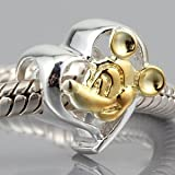 Everbling Lovely Mouse Heart Authentic 925 Sterling Silver Charm Fits Pandora Chamilia Biagi Troll Beads Europen Style Bracelets