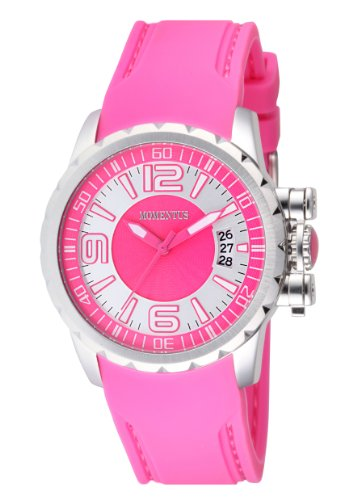 Momentus Stainless Steel with Pink Rubber Band Pink and White Dial Women's Watch #TR108F-02RB