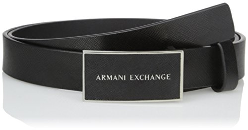 Armani Exchange Men's Saffiano Logo Belt, Black, 40 (Belts Men Armani compare prices)