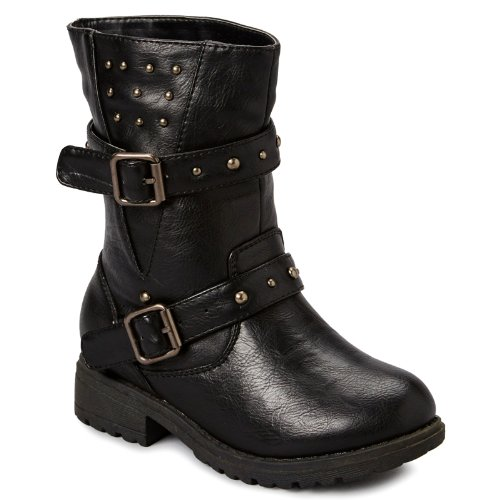 Carrie Little Kid/Big Kid Chess Buckle Boots - Black 3 M Us Little Kid front-379827