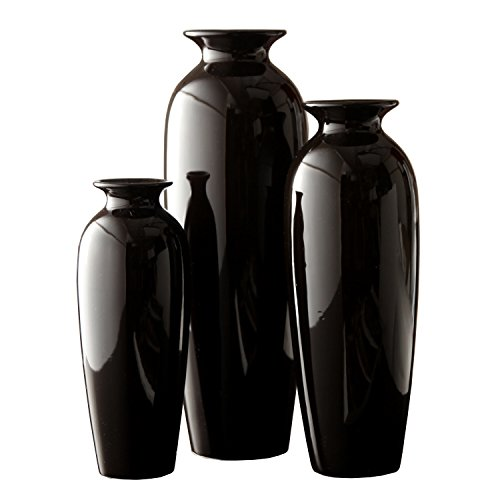 Hosleys Elegant Expressions Set Of 3 Black Ceramic Vases In Gift