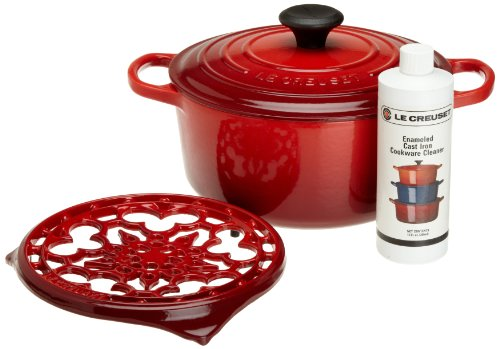 Le Creuset Signature Enameled Cast-Iron 4-1/2-Quart Round Dutch Oven Gift Set, Cherry