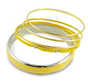 "6 Yellow Glitter Sparkle Stacked Bangle Bracelet Set ""You Accessorize"""