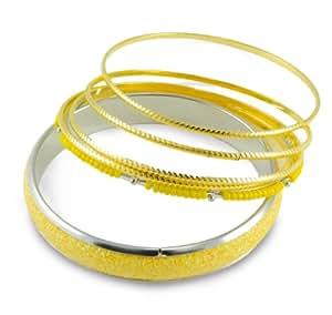 "6 Yellow Glitter Sparkle Stacked Bangle Bracelet Set ""You Accessorize"""
