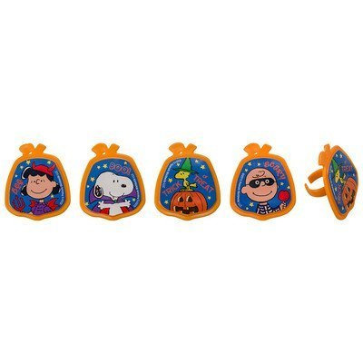 Peanuts Snoopy and Friends Halloween Cupcake Topper Rings- 24 ct