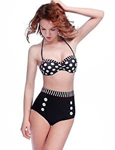 Rockabilly Vintage Retro High Waisted Sexy Strapless 1950's Halter Pushup Bikini