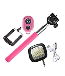 Novo Style Wireless Bluetooth Remote Selfie Stick & Mobile Holder - Pink with 16 LED Selfie Night Flash Light Accessory Combo