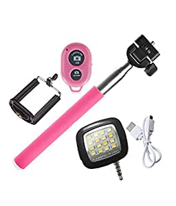 Novo Style Bluetooth Wireless Remote Shutter Selfie Stick - Pink with 16 LED Selfie Night Flash Light Accessory Combo