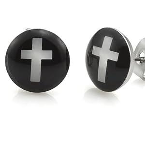 Trendy Stainless Steel Mens Cross Stud Earrings Jewelry (Black White)