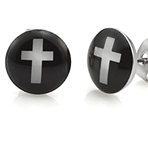 Amazon.com: Trendy Stainless Steel Mens Cross Stud Earrings Jewelry (Black White): Jewelry