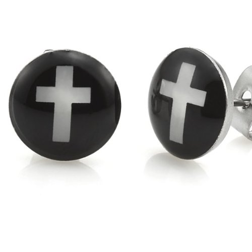 Trendy Stainless Steel Mens Cross Stud Earrings Jewelry (Black White)