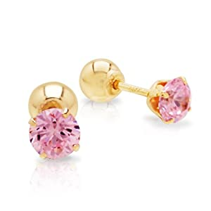 14k Yellow Gold Pink Cubic Zirconia Reversible Stud Earrings
