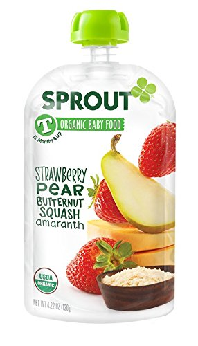 Sprout Organic Foods Toddler Pouches, Strawberry, Pear & Butternut with Amaranth, 4.22 Ounce (Pack of 5)